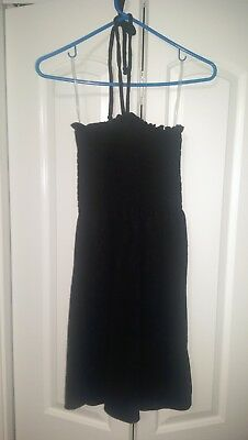 3c7b4358ebcc1 JUICY COUTURE Women's Med Small Dress Micro Terry Smocked Halter Pitch Black  NWT