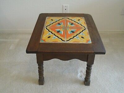 Vintage Malibu Tile Table Wood Base - Beautiful design with 1920s and 1930s pott