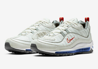 new style 94f2f f94eb Nike Air Max 98 Summit White Size 9 Metallic Silver Red Blue CD1538 100