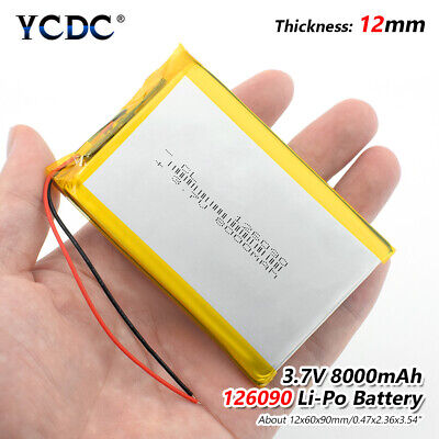 3.7V 8000mAh Li-Po Rechargeable Battery 126090 For MP4 Tablet PC DVD GPS MID FD