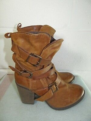 6d69436f9e7 STEVE MADDEN YALE boots Brown leather with buckles size 9.5 - $24.95 ...