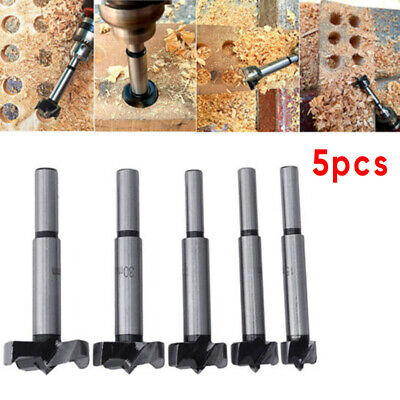 5pcs/Set Wood Drill Bit Hole Saw Cutter Woodworking Tool W/ Round Shank 15-35mm