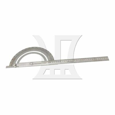 Simple Round Head Rotary Protractor 180 Degree Angle 30cm Ruler Silver