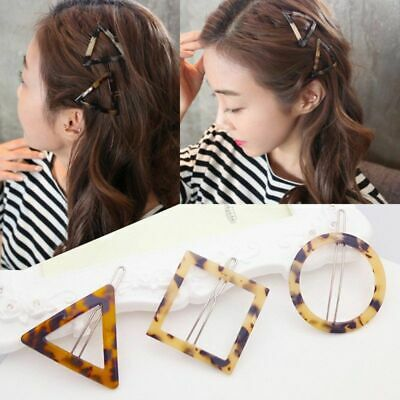 Women Korean Minimalist Style Hair Clips Vintage Leopard Amber Color Hairgrips
