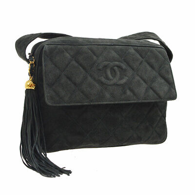 3165f7f8a58911 Auth CHANEL Quilted Fringe CC Cross Body Shoulder Bag Gray Suede Vintage  RK13894