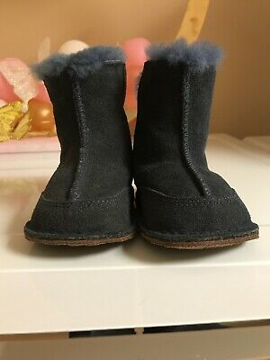 b4651157193 UGG AUSTRALIA INFANT BABY 2/3 SMALL 6-12 MOS NAVY BLUE BOO SUEDE BOOTS  BOOTIES