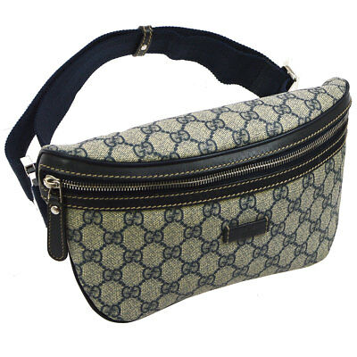 6cb5e3e06d8 Auth GUCCI GG Pattern Waist Bum Bag Navy Gray PVC Leather Vintage Italy  AK34139h