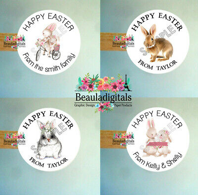 Easter  Personalized Stickers - Easter Mixed Stickers  - Set of 24 labels