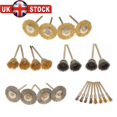 24 Pcs Brass Wire Brush Set Wheel Grinder Clean For Dremel Rotary Tool Accessory