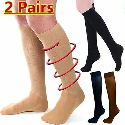 2 Pairs 23-32 mmHg Travel Flight Medical Compression Socks Support Stockings AU