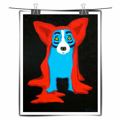 Blue Dog cartoon art painting home decor HD print canvas wall art picture 16X22