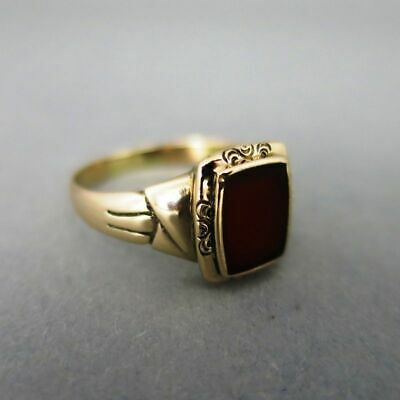 Antiker Jugendstil Herren Siegel Ring in Gold mit Karneol ungraviert