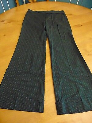 Old Navy black and gray pinstripe dress pants stretch cuffs flare, size 8 reg