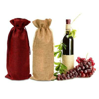 12Pcs Wine Bottle Cover Champagne Burlap Linen Sleeve Bag Drawstring Wrap Pouch