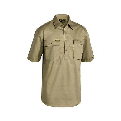 10x BISLEY  Closed Front Cotton Drill Shirt - Short Sleeve BSC1433 WORKWEAR MENS