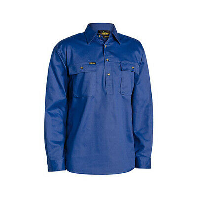 10x BISLEY  Closed Front Cotton Drill Shirt - Long Sleeve BSC6433 WORKWEAR MENS