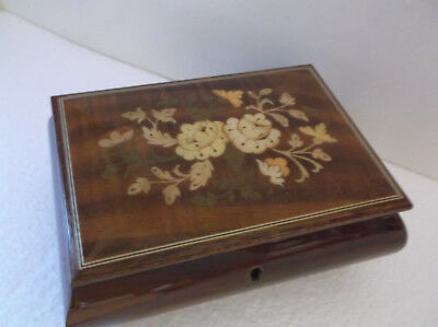 Vintage Jewelry Music Box Plays HAPPY WANDERER Laquered Wood Floral Top