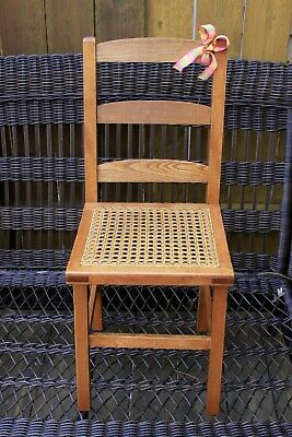 Antique Maple Childs Ladderback Chair with Caned Seat