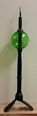 lightning rod / DECORATIVE SPIRE with 4.5'' green glass ball /adjustable mount.