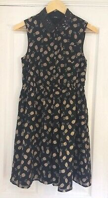George Girls Black Chiffon Pineapple Print Sequin Collar Button Up Dress 12-13 Y