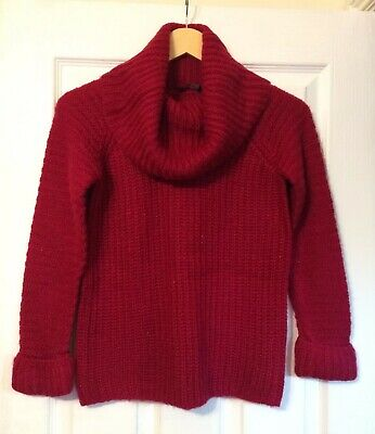 George Girls Pink/Red Cowl Neck Rib Knit Jumper Age 10-11 Yrs