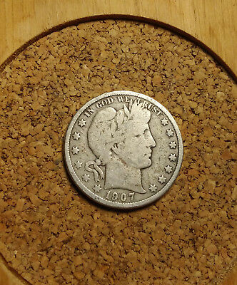 1907 D 50C Barber Half  Circulated  90 % Silver US Coin VG BH232 FREE SHIPPING
