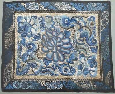 Antique Chinese Textile Panel Dragons Likely 19Th C. Blue Ground W Gold Thread
