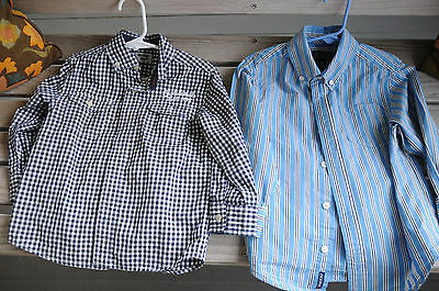 Lot of 2 boy shirts long sleeved cute! button down size 4T