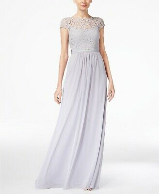 New $350 Adrianna Papell Womens Gray Beaded Belted Lace Gown Formal Dress Size 6