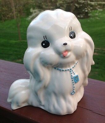 Vintage White Ceramic Puppy Dog Piggy Bank Figurine Excellent Condition!