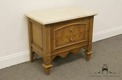 AMERICAN OF MARTINSVILLE Italian Neoclassical Two Drawer Nightstand w/ Marble...