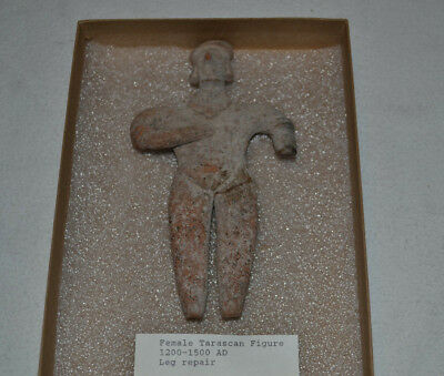 Pre-Columbian Colima Tarascan Clay Pottery Standing Female Figure