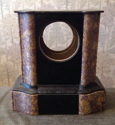 Antique Black And Rose Marble Mantle Clock Case Good Quality To Restore