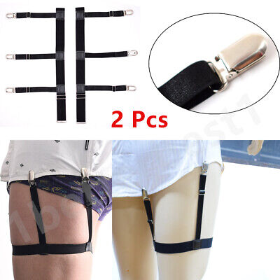 2Pcs T Shirt Suspender Stays Leg Holders Elastic Garter Locking Clamps
