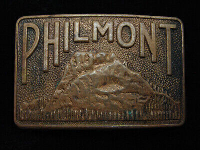 QD05135 VINTAGE 1970s **PHILMONT** BOY SCOUTS OF AMERICA SOLID BRASS BELT BUCKLE