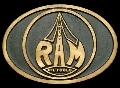 QE12110 GREAT 1970s ***RAM OIL TOOLS, INC*** SOLID BRASS OILFIELD BUCKLE