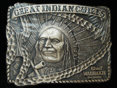 Pg15159 *Nos* Vintage 1983 **Great Indian Chiefs Washakie** Solid Brass Buckle