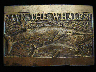 QB01133 VINTAGE 1970s **SAVE THE WHALES!** CONSERVATION BRASSTONE BELT BUCKLE