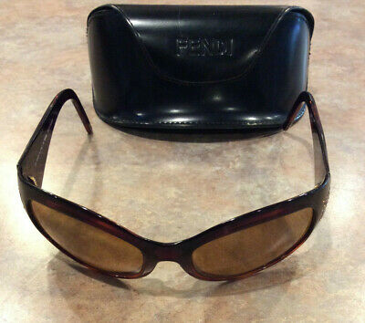 2dabf54ef4e8 Fendi FS436R Brown Frame Swarovski Crystal Brown Lenses Sunglasses Vintage