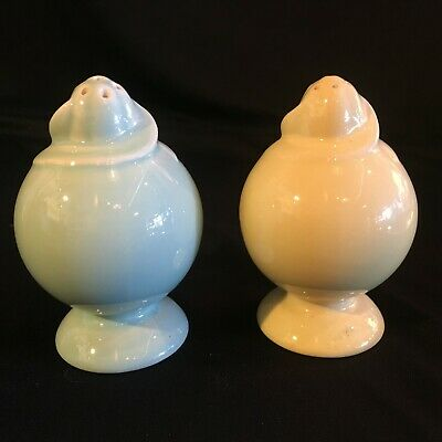 Vintage TS&T Lu-Ray Pastels Salt & Pepper Shakers (no stoppers) Green & Yellow
