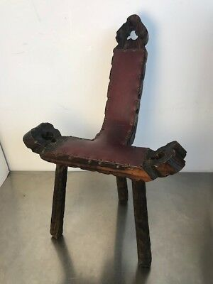 Vintage Rustic Birthing Chair Tripod Legs with Authentic Leather Brass Tacks