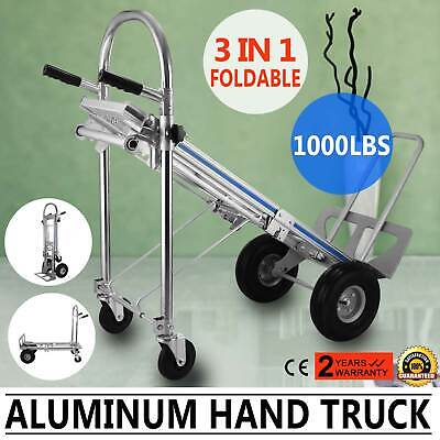 3 in 1 Aluminum Folding Sack Truck Hand Trolley Cart Car Home Heavy Duty Steel