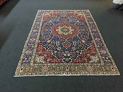 """On Sale Beautiful Hand Knotted Persian Area Rug Floral Navy Carpet 6'6""""x9'6"""""""
