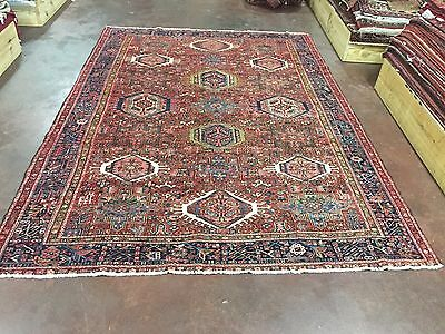 On Sale Unique Antique Hand Knotted Persian-Heriz-Gharajeh Geometric Rug  8x11