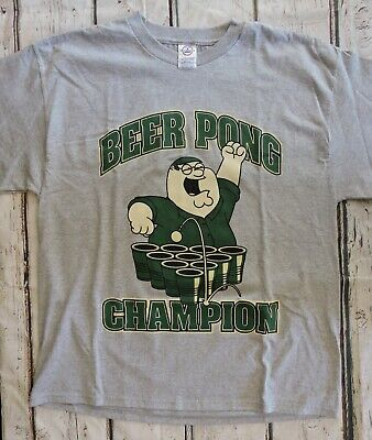 5fe0defe81fe Mens T-shirt Size XL Peter Griffin Family Guy Beer Pong Champion Gray Stewie