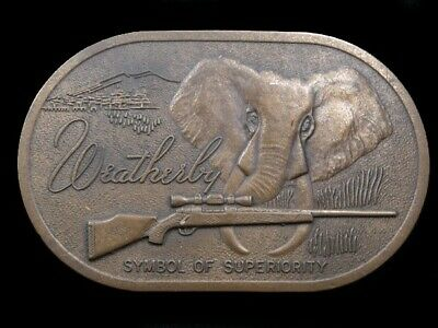 SA07171 AWESOME VINTAGE 1970s **WEATHERBY** BIG GAME RIFLE SOLID BRASS BUCKLE
