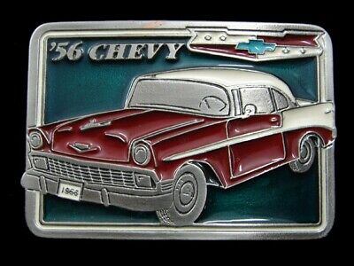 SA07123 *NOS* VINTAGE 1970s **'56 CHEVY** COMMEMORATIVE BELT BUCKLE