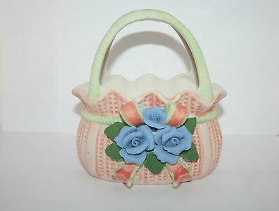 Bisque Porcelain Figural Basket w Applied Bow & Capodimonte Style Roses & Leaves