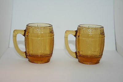 2 Vtg Honey Amber Pressed Shot Glass Beer Whiskey Barrell Mugs Toothpick Holders