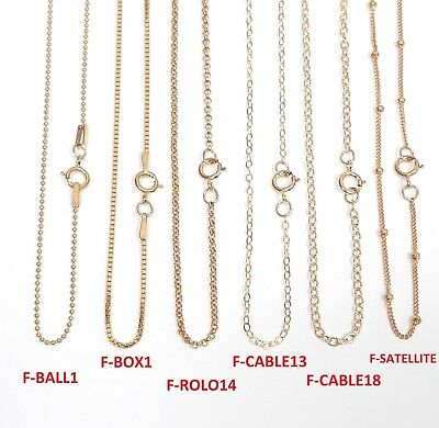 "Gold Filled Chain with spring clasp. 18"" in 6 styles."